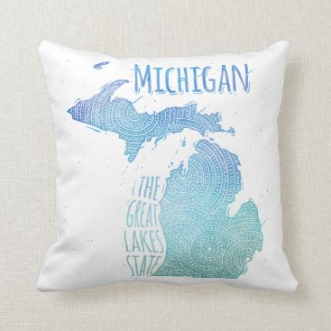 USA Themed Michigan Throw Pillow
