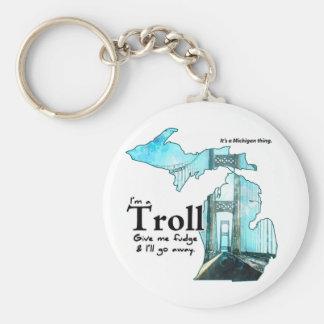 Michigan Troll: Give me Fudge! Basic Round Button Keychain