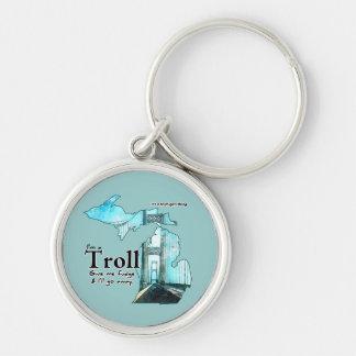 Michigan Troll Humor: Give me Fudge! Silver-Colored Round Keychain