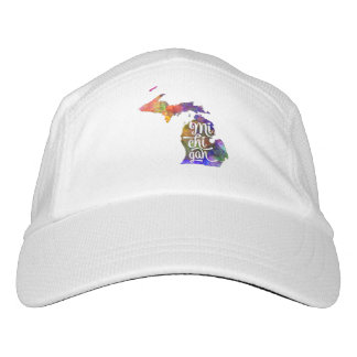 Michigan U.S. State in watercolor text cut out Hat