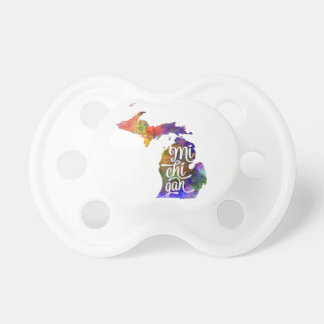 Michigan U.S. State in watercolor text cut out Pacifier
