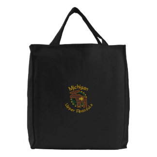 Michigan UP Moose Embroidered Bag