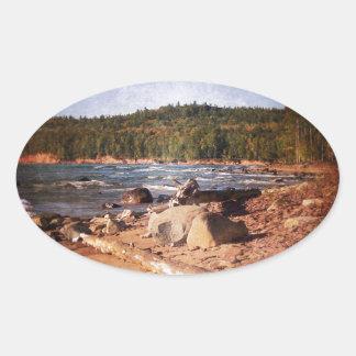 Michigan Upper Peninsula Shoreline Oval Sticker