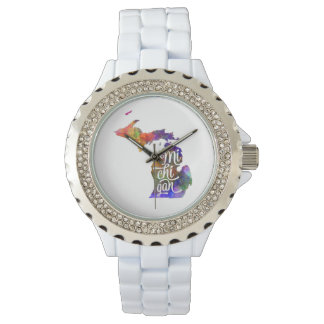 Michigan US State in watercolor text cut out Relojes De Pulsera