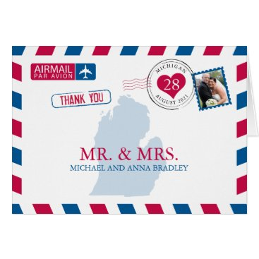 USA Themed Michigan USA Airmail Wedding Thank You Card