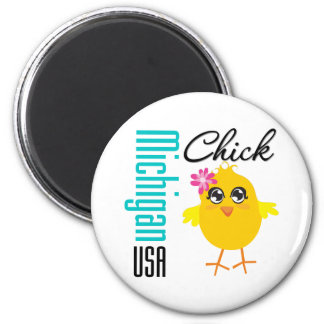 Michigan USA Chick 2 Inch Round Magnet