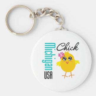 Michigan USA Chick Key Chain