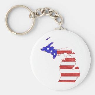 Michigan USA flag silhouette state map Keychain