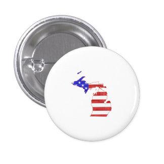 Michigan USA flag silhouette state map Pinback Button