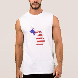 Michigan USA flag silhouette state map Sleeveless Shirt