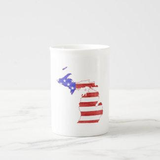 Michigan USA flag silhouette state map Tea Cup