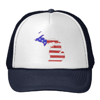 Michigan USA flag silhouette state map Trucker Hat