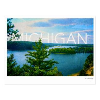 michigan view of au sable river postcard