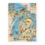 Michigan Vintage Funny Map Postcards