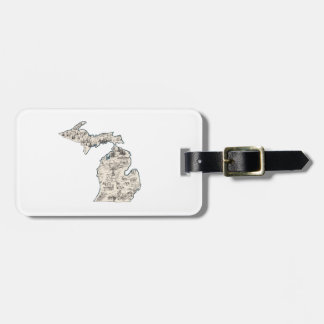 Michigan Vintage Picture Map Bag Tag