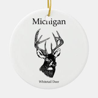 Michigan White Tail Deer Ceramic Ornament