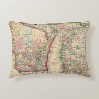 Michigan, Wisconsin Map by Mitchell Accent Pillow