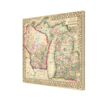 Michigan, Wisconsin Map by Mitchell Canvas Print