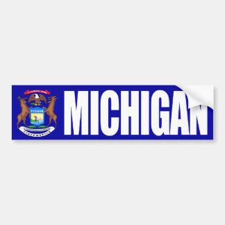 Michigan with State Flag Car Bumper Sticker