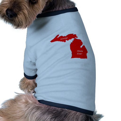 Michigan worst state ever red solid doggie shirt