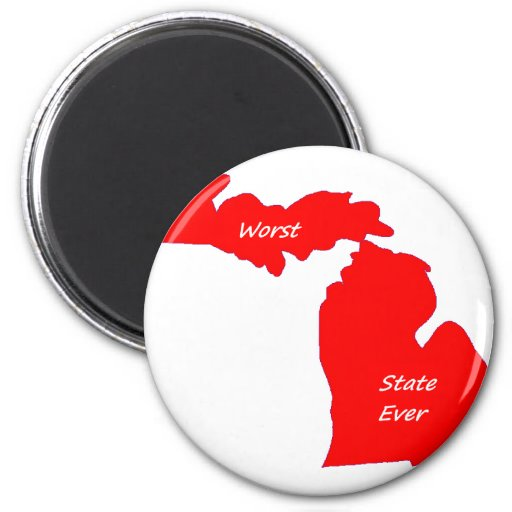 Michigan worst state ever red solid refrigerator magnet