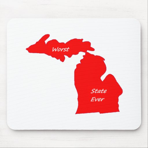 Michigan worst state ever red solid mouse pads