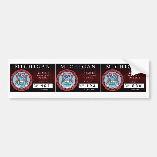 Michigan Zombie Hunting Permit Bumper Stickers