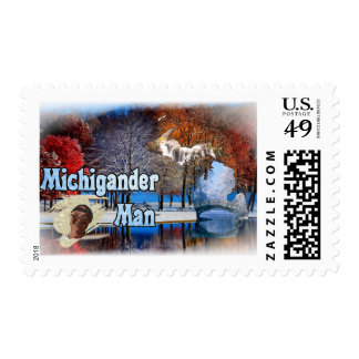 Michigander Man Fall Snow Postage