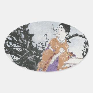 Michizane compone un poema por claro de luna colcomanias ovaladas