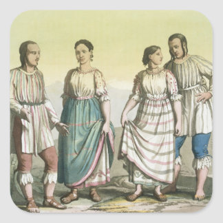 Michoacan Indians in Traditional Costume, Mexico ( Square Sticker