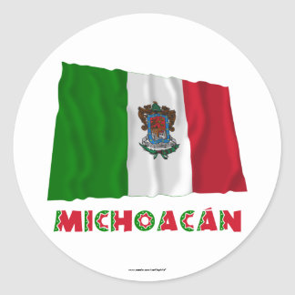 Michoacán Waving Unofficial Flag Classic Round Sticker