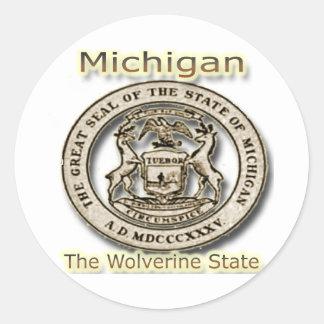 Micigan el sello del estado del estado de pegatina redonda