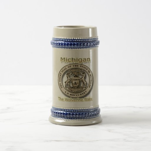 Micigan The Wolverine State State Seal Beer Stein