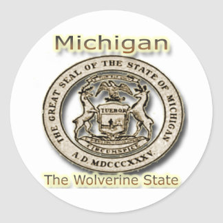Micigan The Wolverine State State Seal Classic Round Sticker