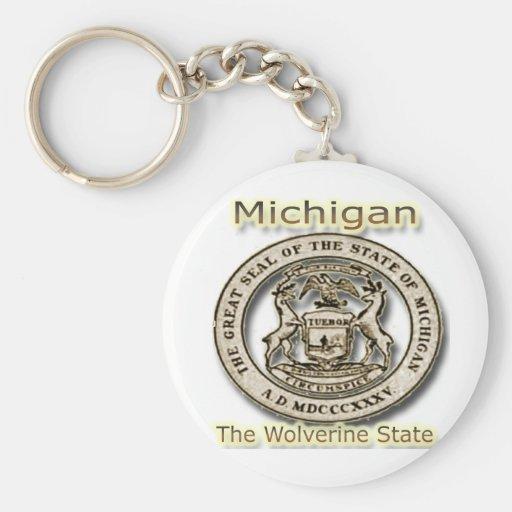 Micigan The Wolverine State State Seal Basic Round Button Keychain