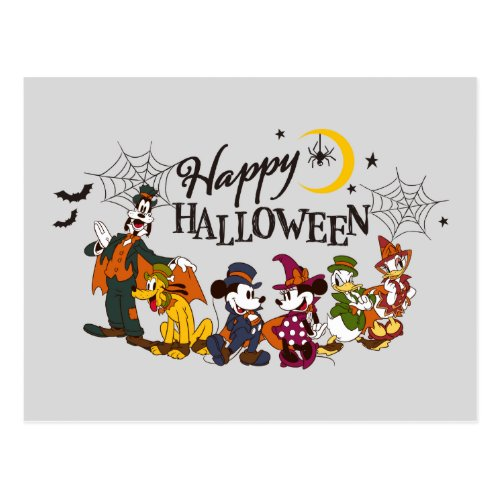 Mickey and Friends  Happy Halloween Postcard