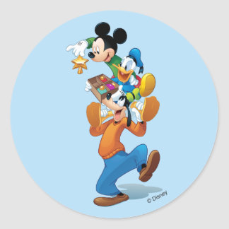 Mickey And Friends | Mickey Decorating The Tree Classic Round Sticker