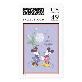 Mickey and Minnie Engagement Postage Stamps