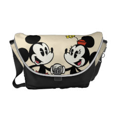 Mickey And Minnie Holding Hands Courier Bag at Zazzle