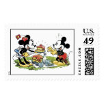 Mickey and Minnie Picnic Eating Cake Postage Stamps