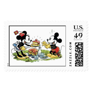 Mickey and Minnie Picnic Eating Cake Stamps