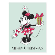 Mickey and Minnie | Vintage Christmas Pattern Postcard