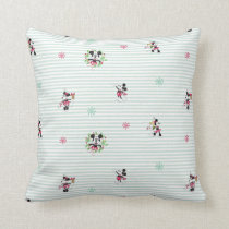 Mickey and Minnie | Vintage Christmas Pattern Throw Pillow