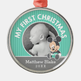 Mickey Baby's First Christmas   Add Your Name Metal Ornament