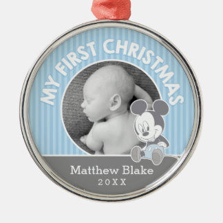 Mickey Baby's First Christmas | Add Your Name Metal Ornament