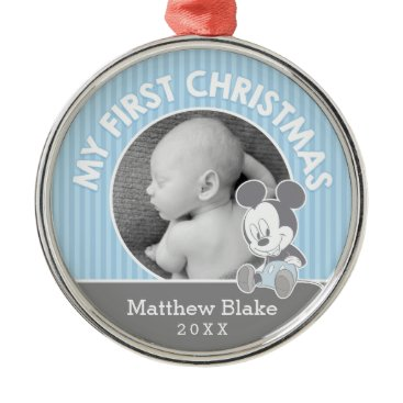 Disney Themed Mickey Baby's First Christmas | Add Your Name Metal Ornament