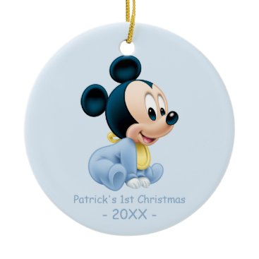 Christmas Themed Mickey Baby's First Christmas Blue | Add Your Name Ceramic Ornament