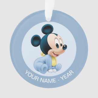 Mickey Baby's First Christmas Blue | Add Your Name Ornament