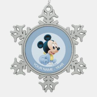 Mickey Baby's First Christmas Blue | Add Your Name Snowflake Pewter Christmas Ornament