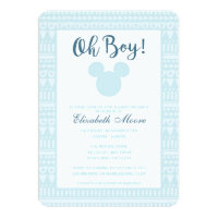 Mickey | Blue Aztec Baby Shower Card